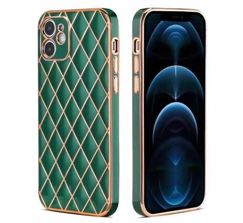 JVS Products iPhone 7 Luxe Geruit Back Cover Hoesje - Silliconen - Ruitpatroon - Back Cover - Apple iPhone 7 - Donkergroen