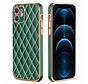 iPhone 7 Luxe Geruit Back Cover Hoesje - Silliconen - Ruitpatroon - Back Cover - Apple iPhone 7 - Donkergroen