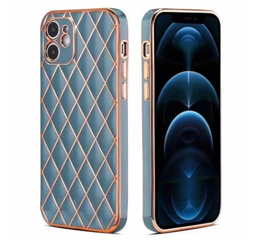 iPhone 7 Luxe Geruit Back Cover Hoesje - Silliconen - Ruitpatroon - Back Cover - Apple iPhone 7 - Blauw