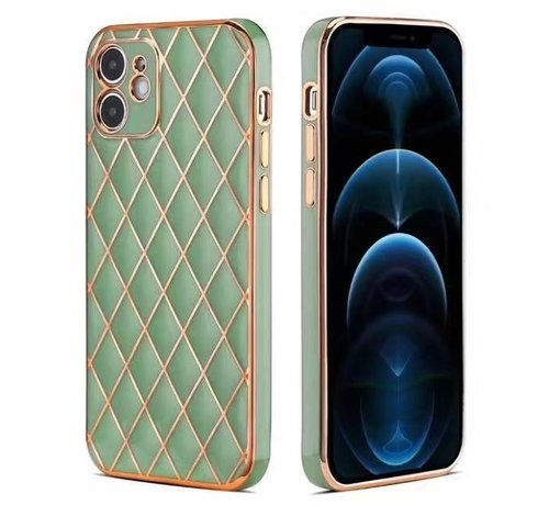 JVS Products iPhone 12 Luxe Geruit Back Cover Hoesje - Silliconen - Ruitpatroon - Back Cover - Apple iPhone 12 - Lichtgroen