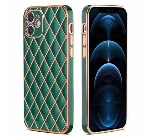 JVS Products iPhone 12 Luxe Geruit Back Cover Hoesje - Silliconen - Ruitpatroon - Back Cover - Apple iPhone 12 - Donkergroen