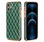 iPhone 12 Luxe Geruit Back Cover Hoesje - Silliconen - Ruitpatroon - Back Cover - Apple iPhone 12 - Donkergroen