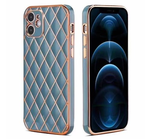 JVS Products iPhone 12 Luxe Geruit Back Cover Hoesje - Silliconen - Ruitpatroon - Back Cover - Apple iPhone 12 - Blauw