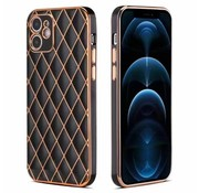 JVS Products iPhone 12 Pro Max Luxe Geruit Back Cover Hoesje - Silliconen - Ruitpatroon - Back Cover - Apple iPhone 12 Pro Max - Zwart