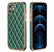 JVS Products iPhone 12 Pro Max Luxe Geruit Back Cover Hoesje - Silliconen - Ruitpatroon - Back Cover - Apple iPhone 12 Pro Max - Donkergroen