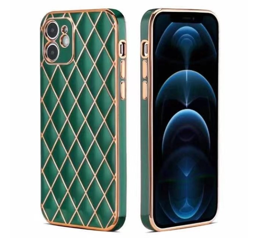 iPhone 12 Pro Max Luxe Geruit Back Cover Hoesje - Silliconen - Ruitpatroon - Back Cover - Apple iPhone 12 Pro Max - Donkergroen