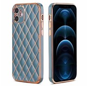 JVS Products iPhone 12 Pro Max Luxe Geruit Back Cover Hoesje - Silliconen - Ruitpatroon - Back Cover - Apple iPhone 12 Pro Max - Blauw