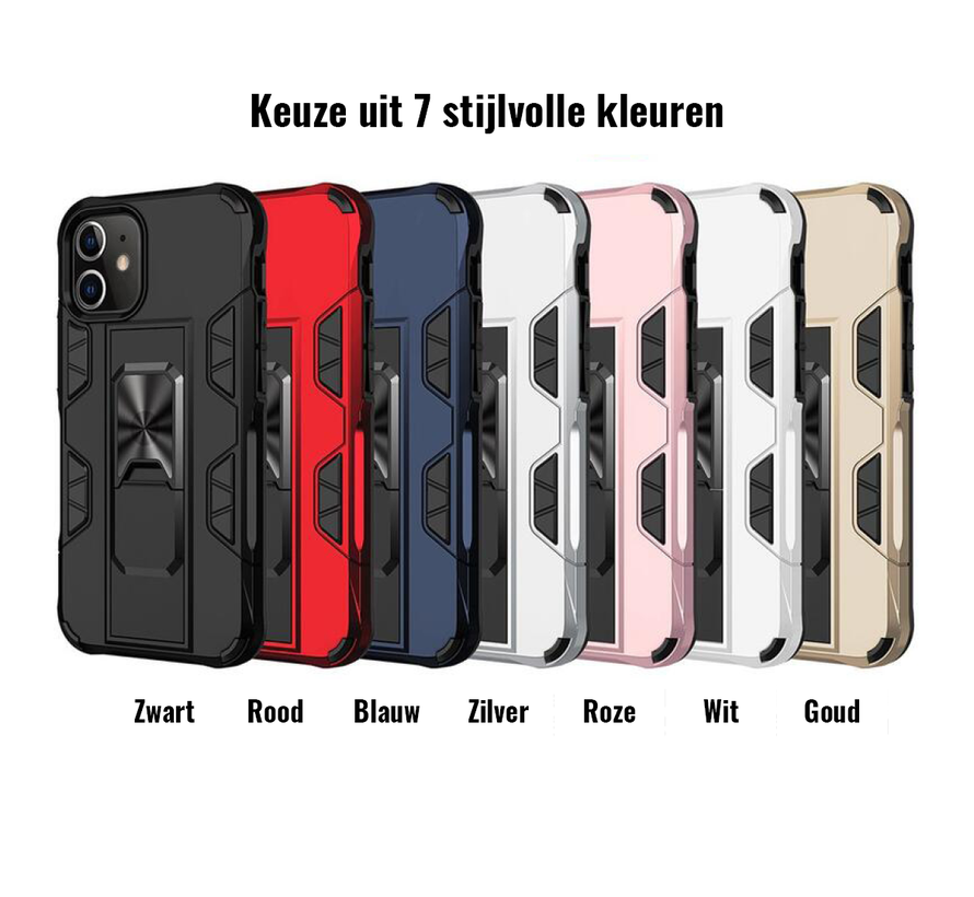 iPhone SE 2020 Rugged Armor Back Cover Hoesje - Stevig - Heavy Duty - TPU - Shockproof Case - Apple iPhone SE 2020 - Rood