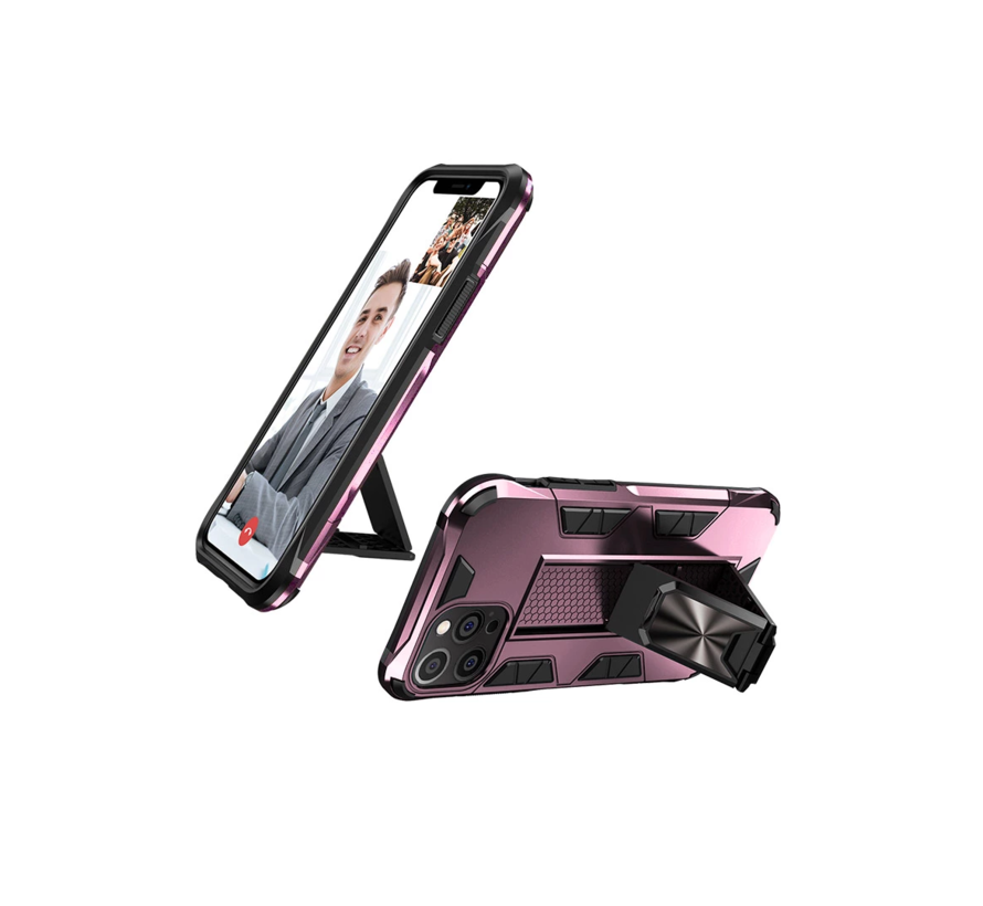 iPhone XS Max Rugged Armor Back Cover Hoesje - Stevig - Heavy Duty - TPU - Shockproof Case - Apple iPhone XS Max - Roze