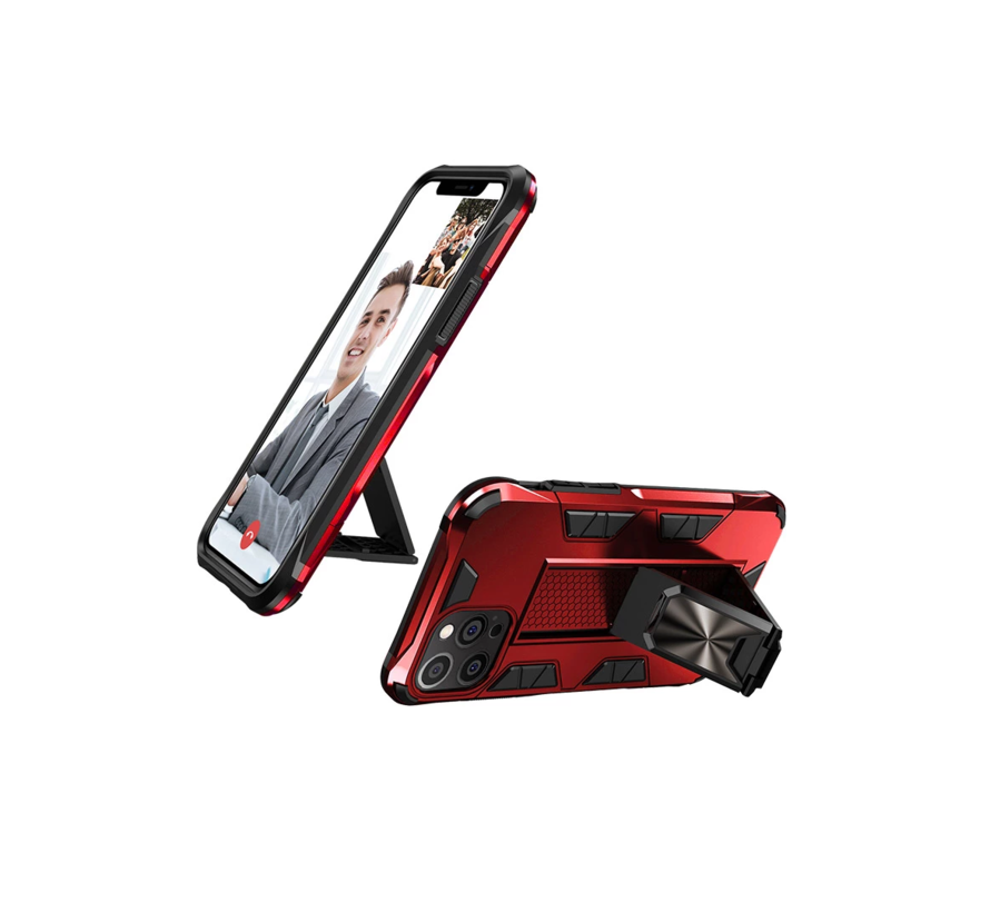 iPhone 11 Pro Rugged Armor Back Cover Hoesje - Stevig - Heavy Duty - TPU - Shockproof Case - Apple iPhone 11 Pro - Rood