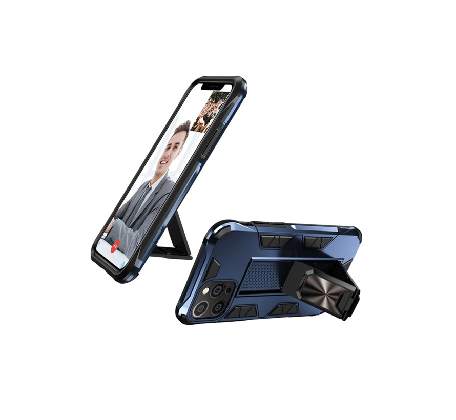 iPhone 11 Pro Rugged Armor Back Cover Hoesje - Stevig - Heavy Duty - TPU - Shockproof Case - Apple iPhone 11 Pro - Blauw