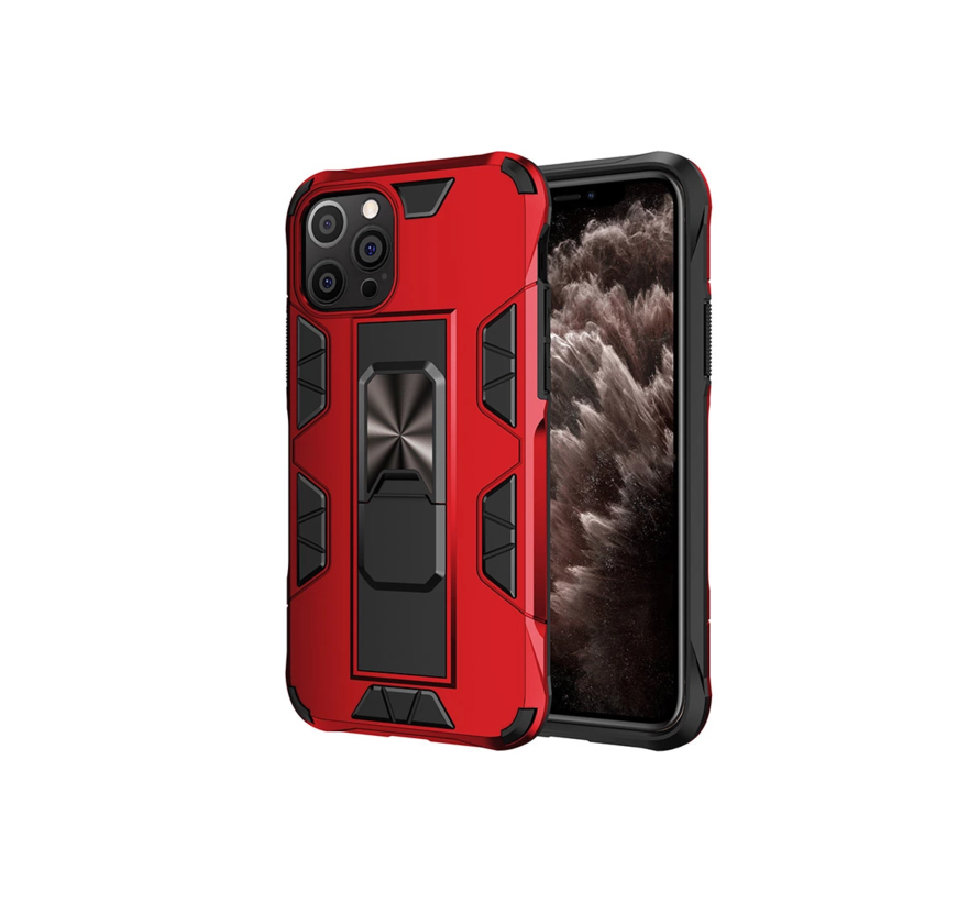 iPhone 12 Rugged Armor Back Cover Hoesje - Stevig - Heavy Duty - TPU - Shockproof Case - Apple iPhone 12 - Rood