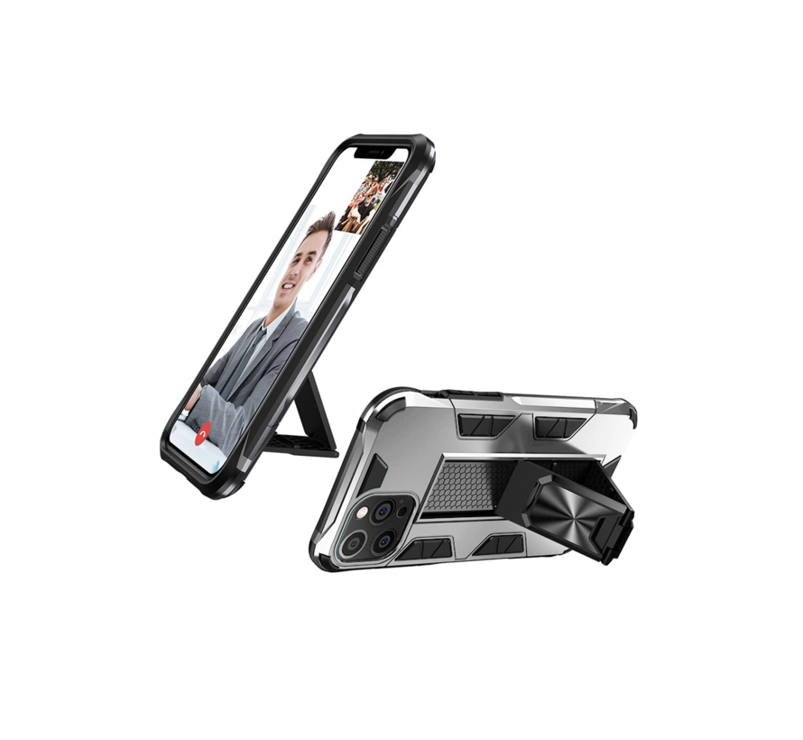 iPhone 12 Rugged Armor Back Cover Hoesje - Stevig - Heavy Duty - TPU - Shockproof Case - Apple iPhone 12 - Zilver