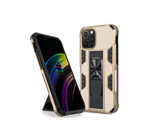 JVS Products iPhone 12 Rugged Armor Back Cover Hoesje - Stevig - Heavy Duty - TPU - Shockproof Case - Apple iPhone 12 - Goud