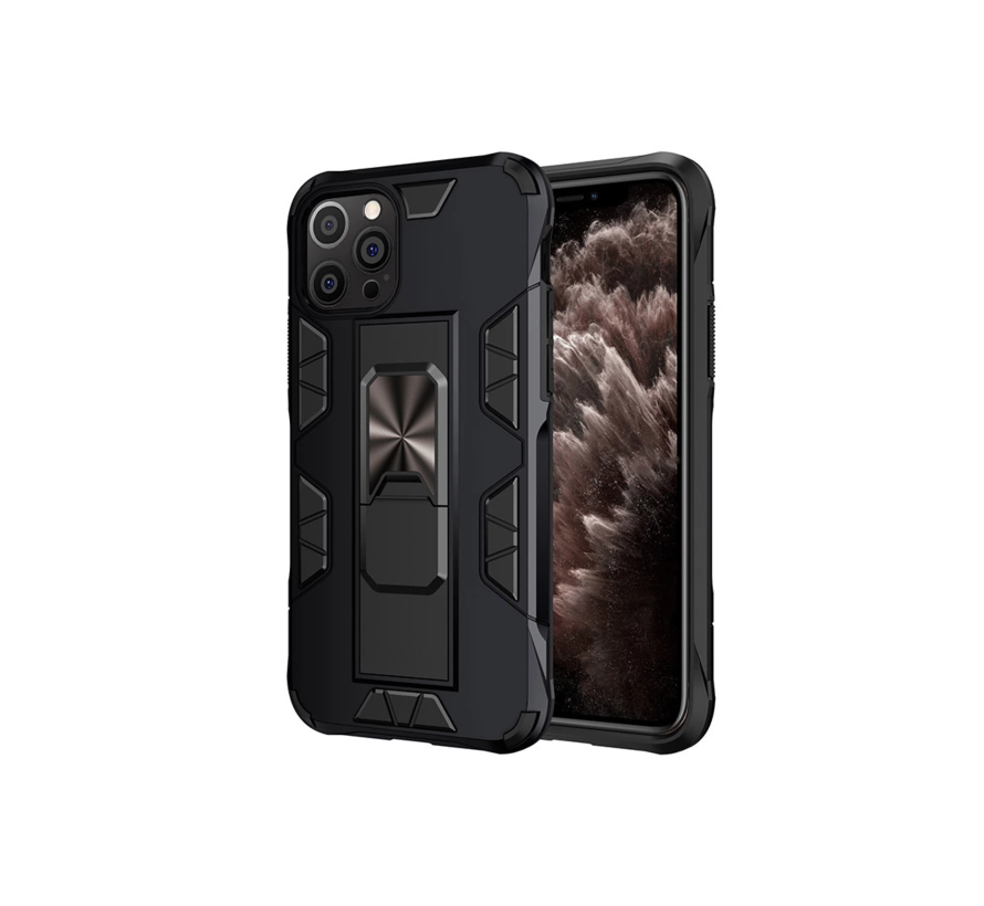 iPhone 12 Pro Max Rugged Armor Back Cover Hoesje - Stevig - Heavy Duty - TPU - Shockproof Case - Apple iPhone 12 Pro Max - Zwart