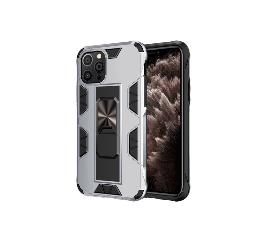 iPhone 12 Pro Max Rugged Armor Back Cover Hoesje - Stevig - Heavy Duty - TPU - Shockproof Case - Apple iPhone 12 Pro Max - Zilver