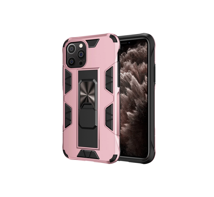 iPhone 12 Pro Max Rugged Armor Back Cover Hoesje - Stevig - Heavy Duty - TPU - Shockproof Case - Apple iPhone 12 Pro Max - Roze