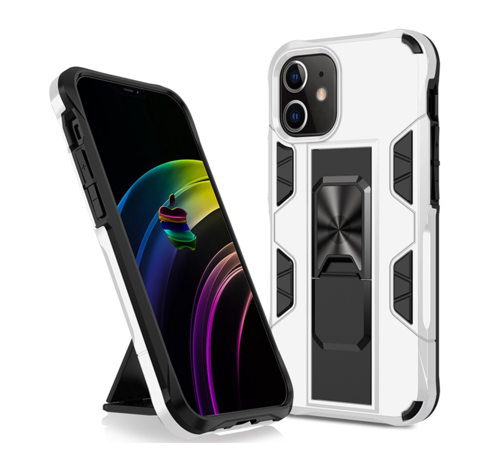 JVS Products iPhone 12 Mini Rugged Armor Back Cover Hoesje - Stevig - Heavy Duty - TPU - Shockproof Case - Apple iPhone 12 Mini - Wit