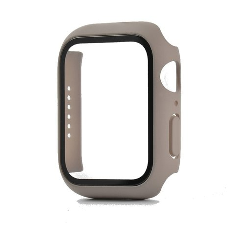 JVS Products Apple Watch 44MM Full Cover Hoesje + Screenprotector - Kunststof - TPU - Apple Watch Case - Taupe