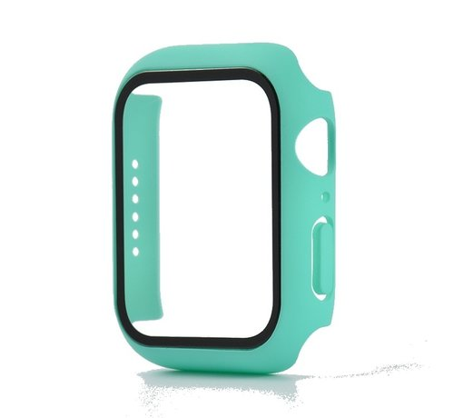 JVS Products Apple Watch 44MM Full Cover Hoesje + Screenprotector - Kunststof - TPU - Apple Watch Case - Turquoise