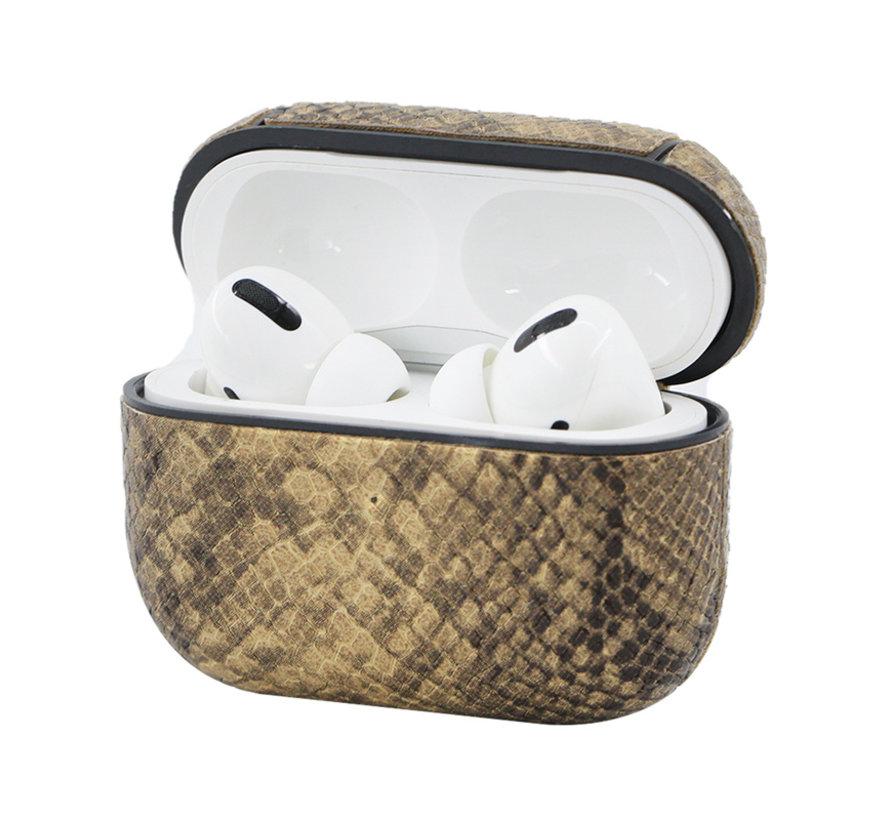Apple Airpods 1 en 2 Slangen Print Case - TPU - Hardcase - Apple Airpods - Bruin/Beige