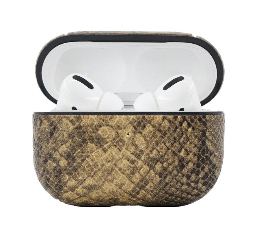 Apple Airpods Pro Slangen Print Case - TPU - Hardcase - Apple Airpods - Bruin/Beige
