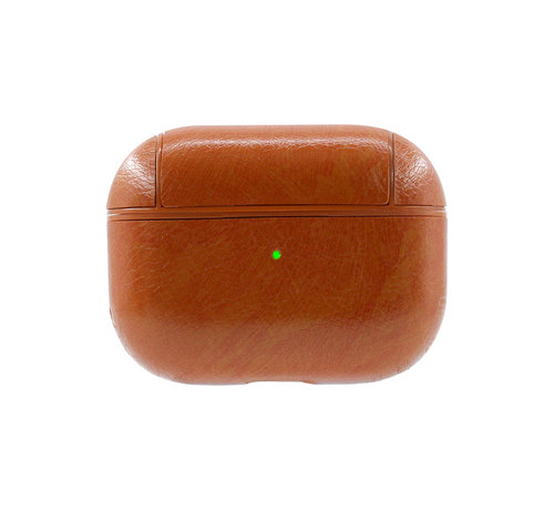 JVS Products Apple Airpods 1 en 2 Lederlook Case - Leer - Hardcase - Sleutelhanger - Kunstleer - Apple Airpods - Lichtbruin