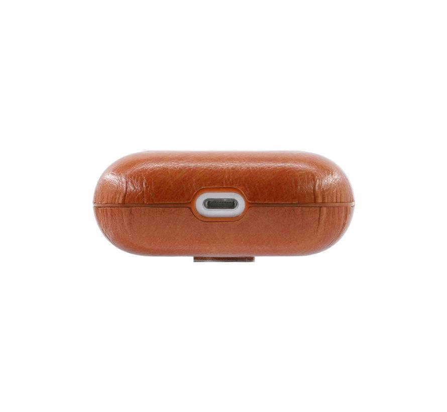 Apple Airpods 1 en 2 Lederlook Case - Leer - Hardcase - Sleutelhanger - Kunstleer - Apple Airpods - Lichtbruin