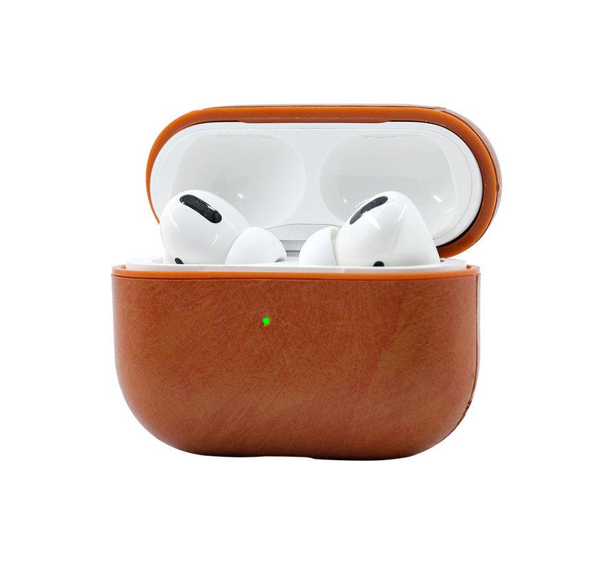 Apple Airpods 1 en 2 Lederlook Case - Leer - Hardcase - Sleutelhanger - Kunstleer - Apple Airpods - Rood