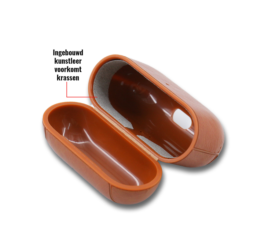 Apple Airpods 1 en 2 Lederlook Case - Leer - Hardcase - Sleutelhanger - Kunstleer - Apple Airpods - Zwart