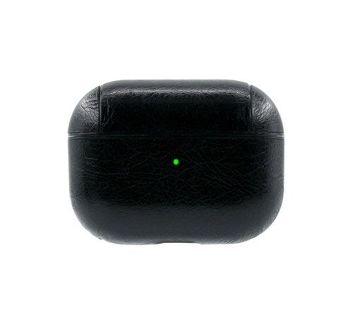 JVS Products Apple Airpods Pro Lederlook Case - Leer - Hardcase - Sleutelhanger - Kunstleer - Apple Airpods - Zwart