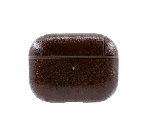 JVS Products Apple Airpods Pro Lederlook Case - Leer - Hardcase - Sleutelhanger - Kunstleer - Apple Airpods - Donkerbruin
