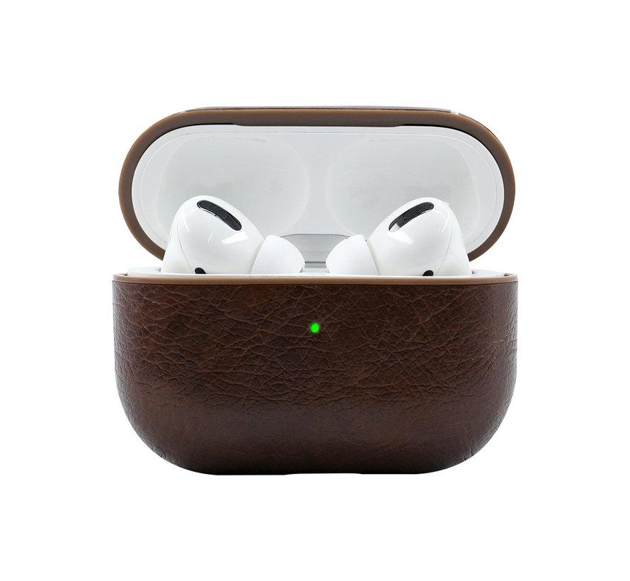 Apple Airpods Pro Lederlook Case - Leer - Hardcase - Sleutelhanger - Kunstleer - Apple Airpods - Donkerbruin