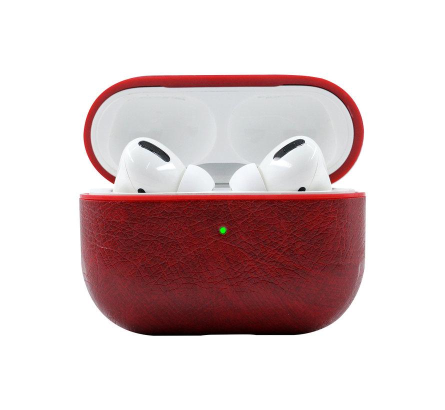 Apple Airpods Pro Lederlook Case - Leer - Hardcase - Sleutelhanger - Kunstleer - Apple Airpods - Rood