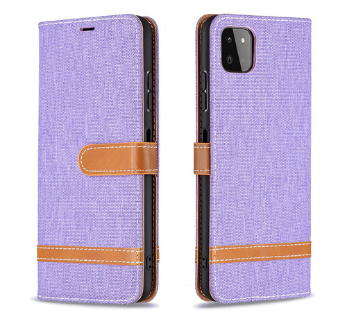 JVS Products iPhone XR Vintage Book Case Hoesje - stof - Bookcase - Pasjeshouder - Magnetisch - Apple iPhone XR - Paars