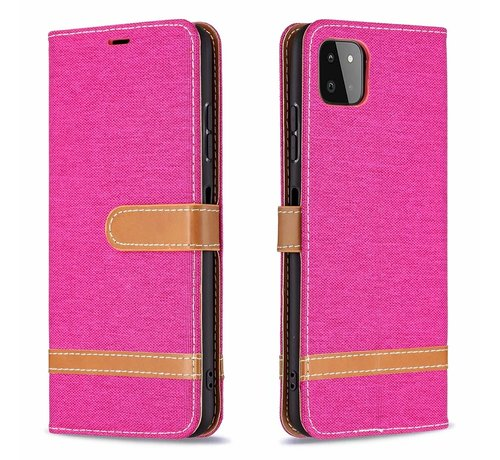 JVS Products iPhone XS Max Vintage Book Case Hoesje - stof - Bookcase - Pasjeshouder - Magnetisch - Apple iPhone XS Max - Roze