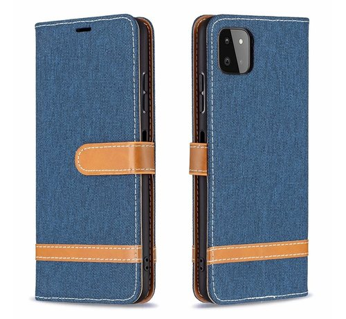 JVS Products iPhone 12 Vintage Book Case Hoesje - stof - Bookcase - Pasjeshouder - Magnetisch - Apple iPhone 12 - Donkerblauw