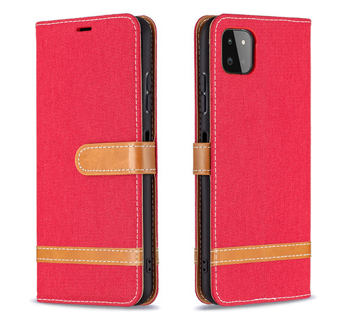JVS Products iPhone 12 Vintage Book Case Hoesje - stof - Bookcase - Pasjeshouder - Magnetisch - Apple iPhone 12 - Rood