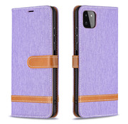 JVS Products iPhone 12 Pro Vintage Book Case Hoesje - stof - Bookcase - Pasjeshouder - Magnetisch - Apple iPhone 12 Pro - Paars