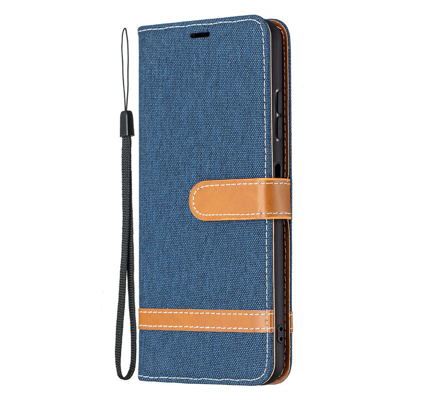 iPhone 12 Pro Max Vintage Book Case Hoesje - stof - Bookcase - Pasjeshouder - Magnetisch - Apple iPhone 12 Pro Max - Donkerblauw