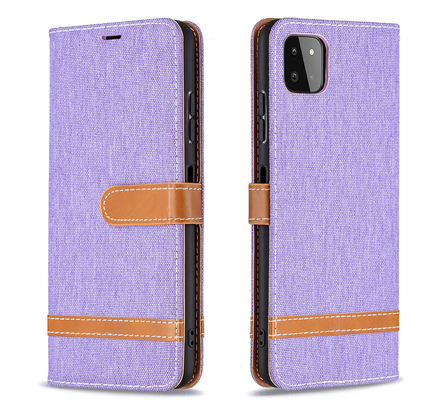 iPhone 12 Pro Max Vintage Book Case Hoesje - stof - Bookcase - Pasjeshouder - Magnetisch - Apple iPhone 12 Pro Max - Paars
