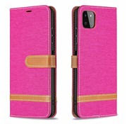 JVS Products iPhone 12 Pro Max Vintage Book Case Hoesje - stof - Bookcase - Pasjeshouder - Magnetisch - Apple iPhone 12 Pro Max - Roze