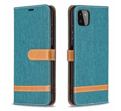 JVS Products iPhone 12 Pro Max Vintage Book Case Hoesje - stof - Bookcase - Pasjeshouder - Magnetisch - Apple iPhone 12 Pro Max - Groen