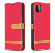 JVS Products iPhone 12 Mini Vintage Book Case Hoesje - stof - Bookcase - Pasjeshouder - Magnetisch - Apple iPhone 12 Mini - Rood
