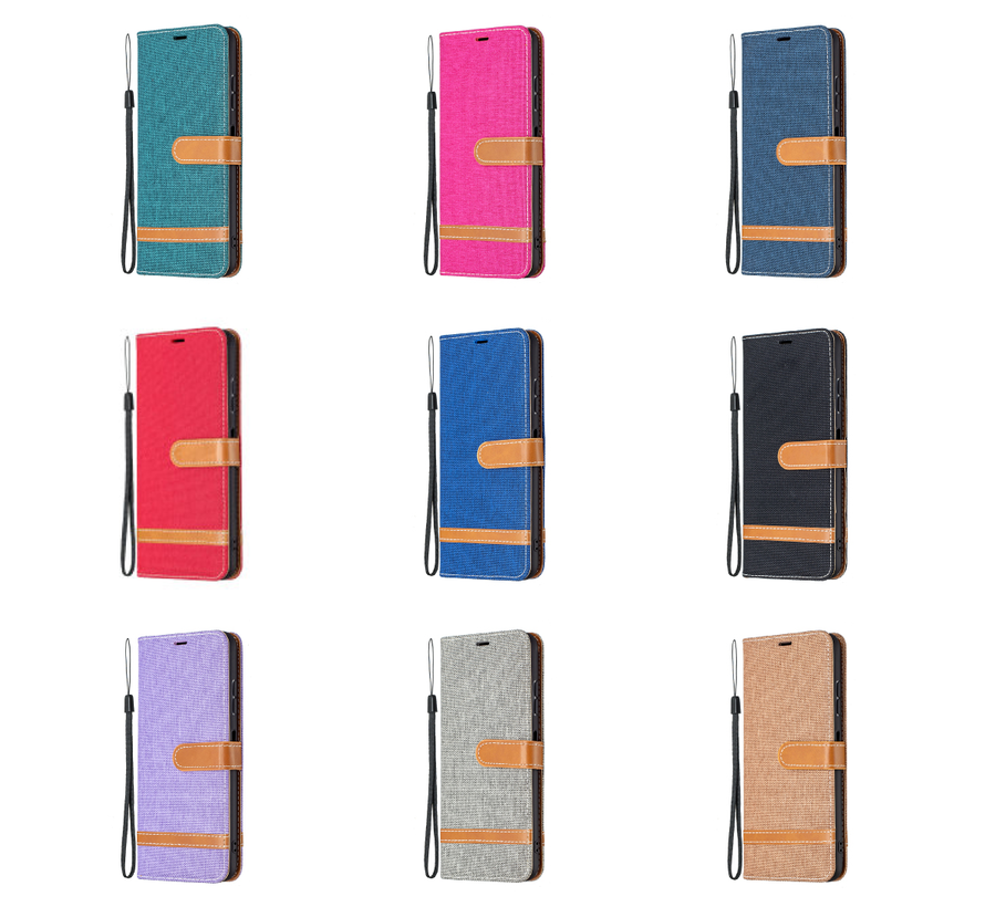 Samsung Galaxy A20E Vintage Book Case Hoesje - stof - Bookcase - Pasjeshouder - Magnetisch - Samsung Galaxy A20E - Rood
