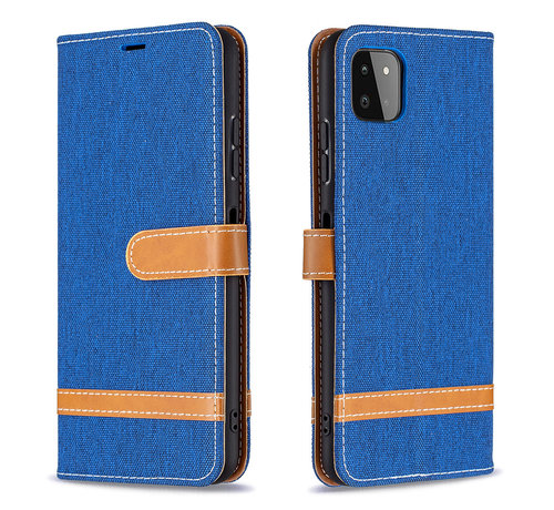 JVS Products Samsung Galaxy A21S Vintage Book Case Hoesje - stof - Bookcase - Pasjeshouder - Magnetisch - Samsung Galaxy A21S - Blauw