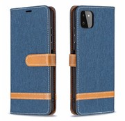 JVS Products Samsung Galaxy A21S Vintage Book Case Hoesje - stof - Bookcase - Pasjeshouder - Magnetisch - Samsung Galaxy A21S - Donkerblauw