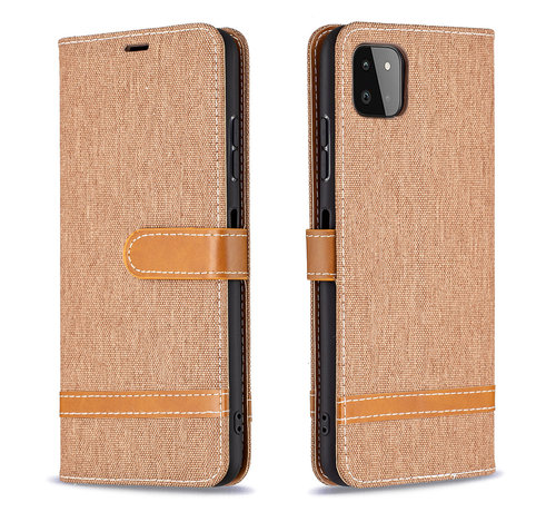JVS Products Samsung Galaxy A21S Vintage Book Case Hoesje - stof - Bookcase - Pasjeshouder - Magnetisch - Samsung Galaxy A21S - Bruin