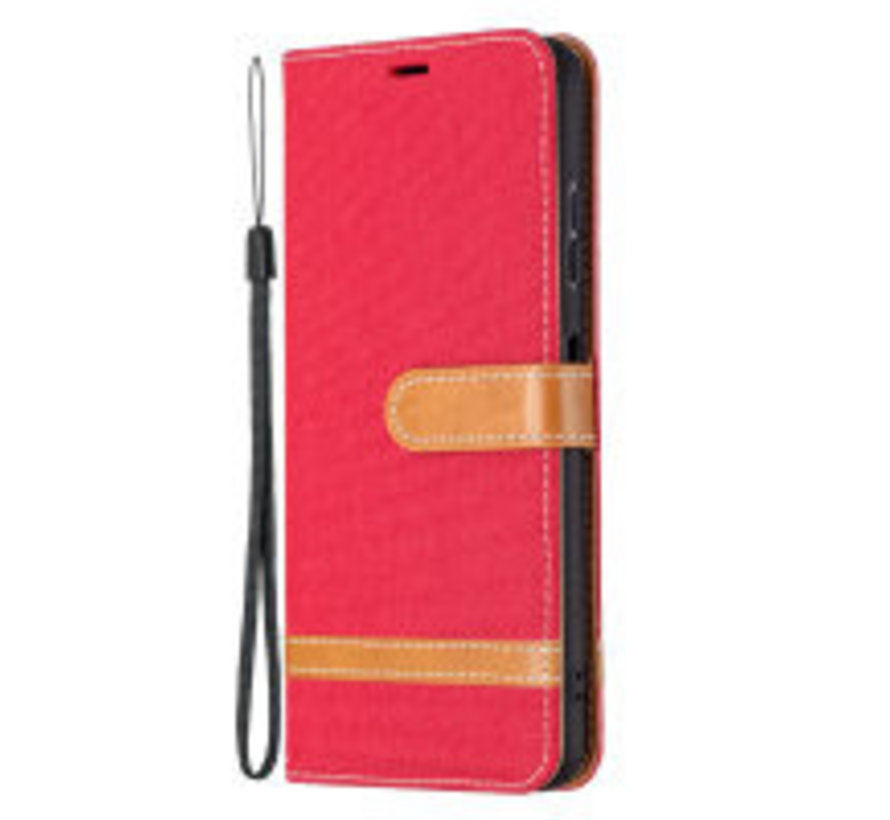 Samsung Galaxy A51 Vintage Book Case Hoesje - stof - Bookcase - Pasjeshouder - Magnetisch - Samsung Galaxy A51 - Rood
