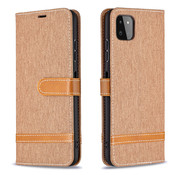 JVS Products Samsung Galaxy A42 Vintage Book Case Hoesje - stof - Bookcase - Pasjeshouder - Magnetisch - Samsung Galaxy A42 - Bruin